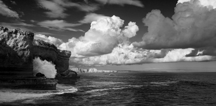 Black and white and colour photos along the Great Ocean Road between Queenscliff and Cape Nelson.